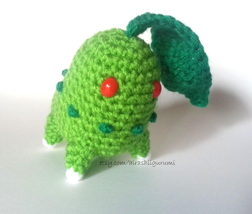 Chibi Chikorita Crochet Amigurumi Chikorita by AirashiiGurumi