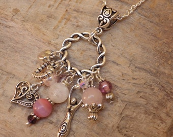 Venus Love Goddess Charm Pendant, Pagan Cluster Necklace, Wiccan Jewelry, Rainbow Moonstone & Rose Quartz Gemstones