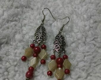 Burgundy and Cream Dangle Earrings