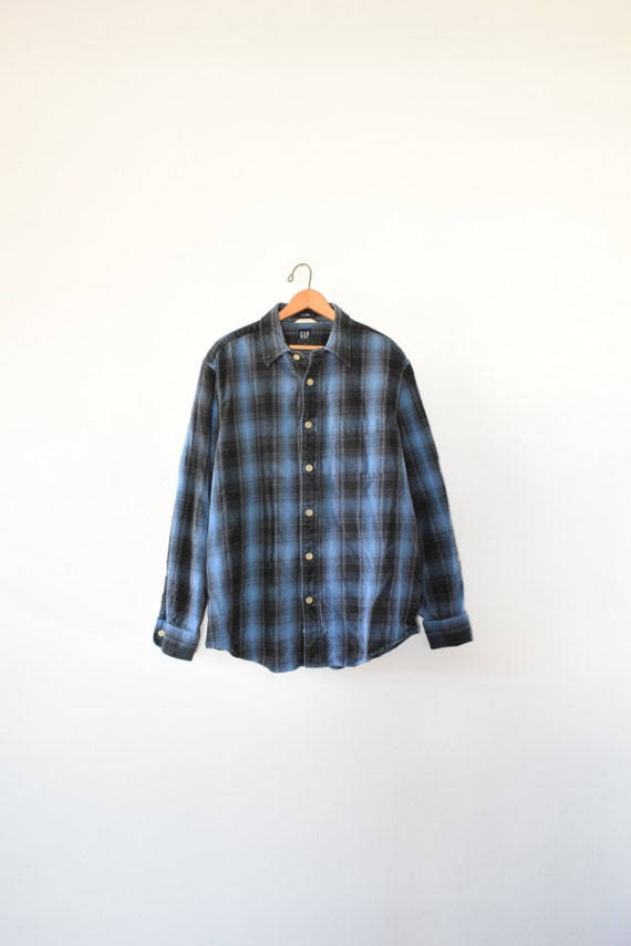Heavy gap flannel size mens large 90s button down for Heavy plaid flannel shirt