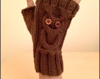Knitting Pattern: Owl Fingerless Gloves (0046) - Knitted on two straight needles - Permission to Sell Finished Products