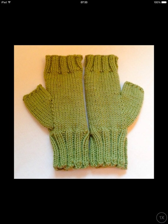 Knit Fingerless Gloves Pattern Straight Needles : Knitting Pattern: Owl Fingerless Gloves (0046 TLM) - Knitted on two straight ...