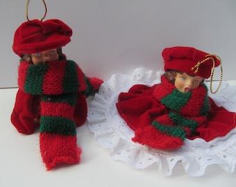 Vintage Christmas Ornament  - Boy  - Girl Carolers ,