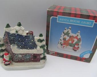 Ceramic  Santa Claus  Votive Candle Holder - Christmas  Scene