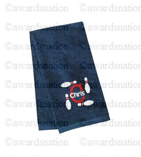 Personalized Embroidered Bowling Towel Custom Monogrammed