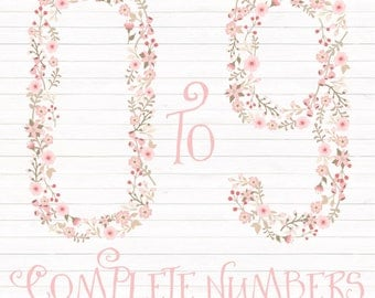 Premium Floral Numbers Clipart & Vectors in Soft Pink - Soft Pink Flower Numbers, Soft Pink Floral Numbers, Vector Floral Numbers