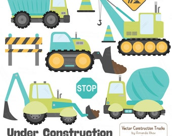 Premium Aqua Construction Clipart - Truck Clipart, Construction Clip Art, Vector Construction Trucks, Construction Equipment, Diggers