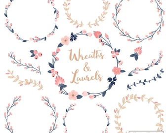 Premium Floral Wreaths & Laurels in Navy and Blush - Navy and Pink Flower Wreath, Wreath Clipart, Laurel Clipart