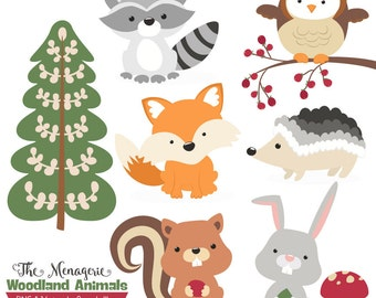 Premium Woodland Animals Clip Art & Vectors - Woodland Clipart, Forest Animal Clipart, Woodland Animal Vectors, Fox Clip Art, Owl Clip Art