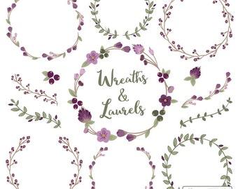 Premium Floral Wreaths & Laurels in Plum - Plum Flower Wreath, Plum Wreath, Wreath Clipart, Laurel Clipart