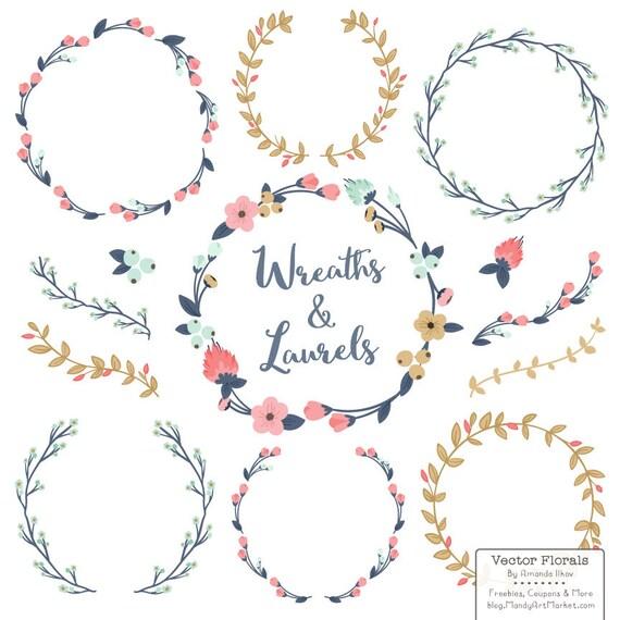 Line Art Etsy : Items similar to premium floral wreaths laurels in