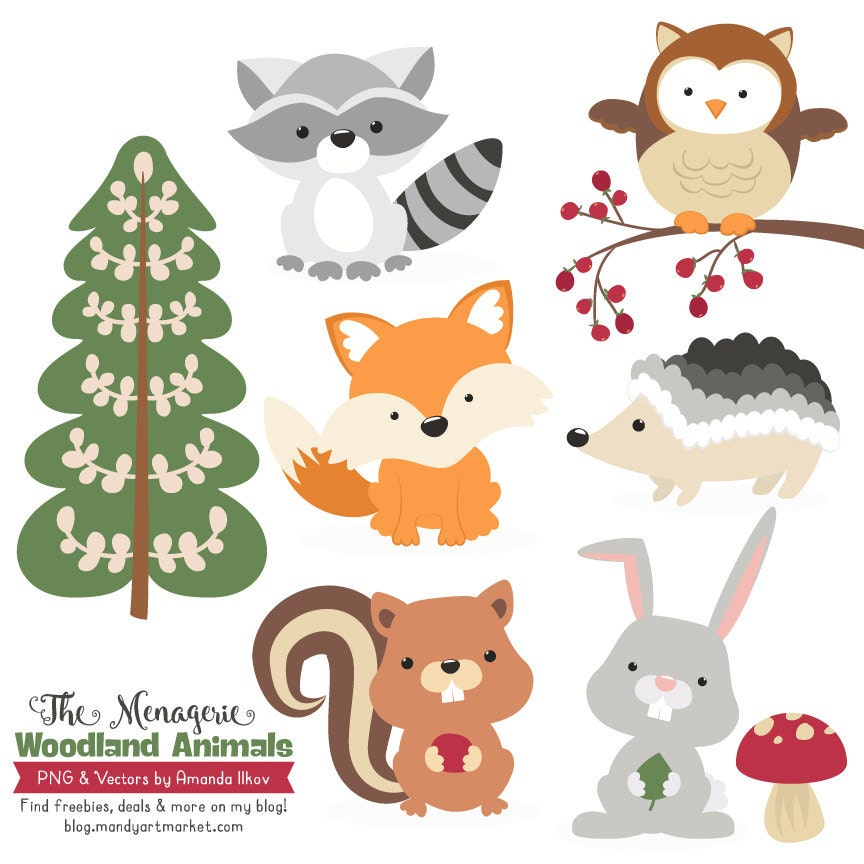 Premium Woodland Animals Clip Art & Vectors Woodland