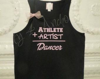 DANCE Tank, Athlete + Artist = Dancer. Youth Dance shirt- girls size XS-XL