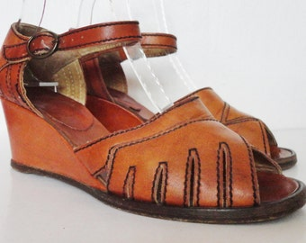 70s Vintage Tan Leather Wedges // Size EU 37 // Made In Italy