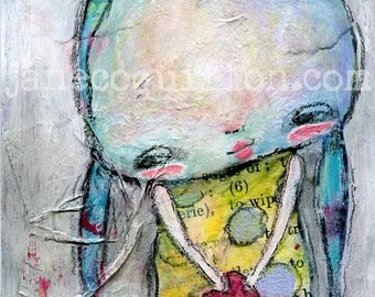 Mim's Valentine, archival art print, mixed media art painting