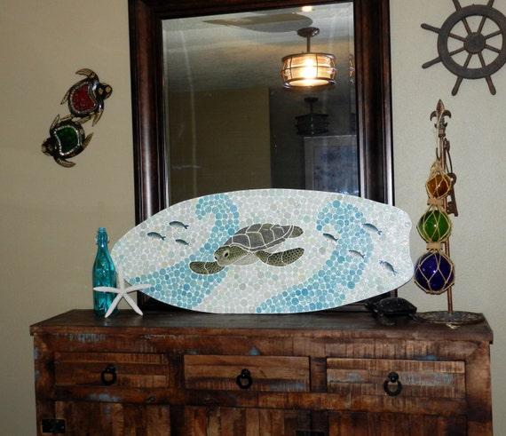 Surfboard With Sea Turtle Wall Decor Handcut Ceramic Mosaic