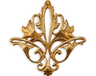 Raw Brass Stamping Acanthus Leaf, Filigree Embellishment Jewelry Finding Component 1 pc AMERICAN Made GORGEOUS !