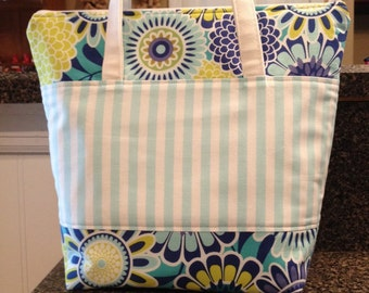 Insulated lunch bag lunch tote aqua and blue flowers and stripes