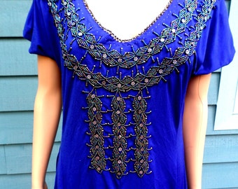 Vintage 1970's Beaded Tribal/Gypsy/Hippie/Boho Embellished Beaded Tunic/Dress Royal Blue Polyester Knit/ Beaded Gussets/ Size Medium/ Large