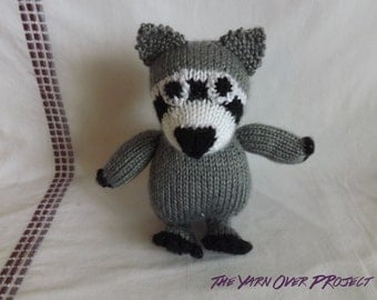 Hand-Knit Stuffed Raccoon - Stuffed Raccoon for Baby - Stuffed Toy for Baby - Stuffed Doll - Baby Raccoon Toy