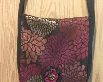 Black with Red, Gold and Fuscia Floral Design, Messenger Bag Style, Bloom Bag