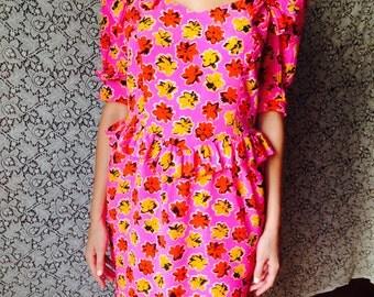 Barbie Escada Dress/Vintage High Fashion Dress/80s/Andy Wathol Dress/Haute Couture Rare Dress/Silk Floral Dress/80's Designer Dress/Peplum/S