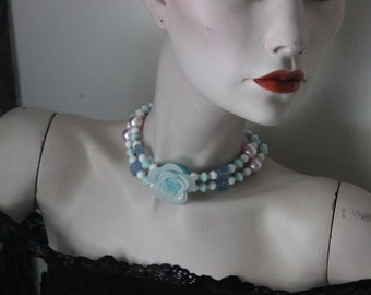 Something Floral and Blue Beaded Choker