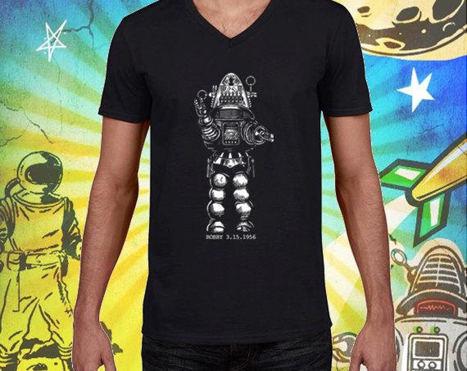 Robby the Robot Men's Jet Black 100% Ring Spun Cotton V-Neck T-Shirt