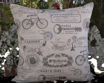 Paris pillow cover with French script and symbols, brown and ivory pillow, shabby French chic decor, 18 x 18, romantic cottage decor