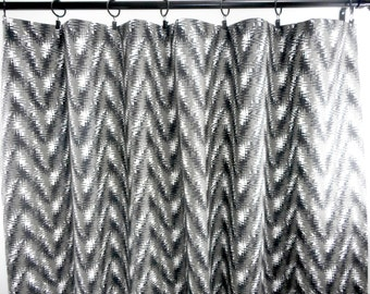 Black Curtain. Black and white 2 panel curtain. Rhodes shadow. Zigzag. Window Treatment. Cotton.unlined.Designers. Choose size
