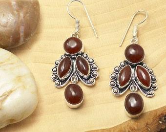 Carnelian Earrings, Silver Carnelian Earrings, Carnelian Gemstone Earrings, Carnelian Stone Earrings, Carnelian Boho Earrings, Drop Earrings