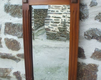 Antique French Oak framed Bevelled mirror