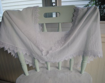 Cotton Gauze Infinity Scarf/ lace/ handmade/ wrap