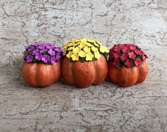 Miniature Dollhouse Three Pumpkins With Flowers - You Choose Color - One Inch Scale - Miniature Pumpkins - Miniature Flowers - Fairy Garden