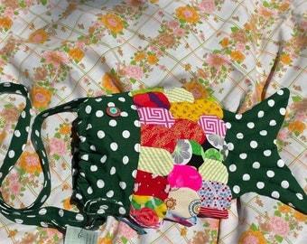 Green polka dot crossbody fish purse, drawstring mouth