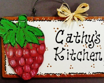 GRAPES Overlay Personalized Name KITCHEN SIGN Tuscan Decor Wood Fruit Plaque