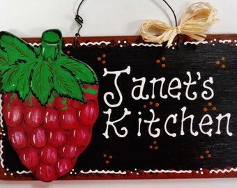 GRAPES Overlay Personalized Name KITCHEN SIGN Tuscan Decor Wood Plaque