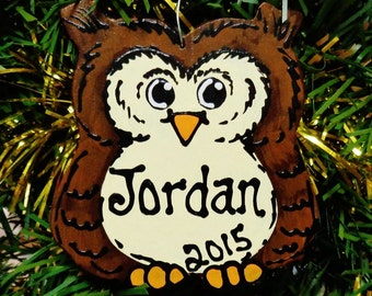 U CHOOSE Name and Year Personalized OWL Christmas Hoot Owl ORNAMENT Holiday Decor