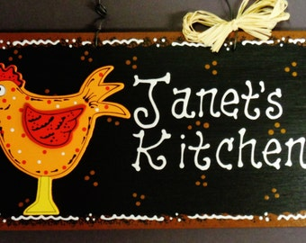 ROOSTER Chicken Personalized KITCHEN SIGN Name Barnyard Wall Decor Plaque