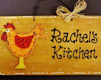 ROOSTER Personalized KITCHEN SIGN Name Country Chicken Wall Hanger Plaque