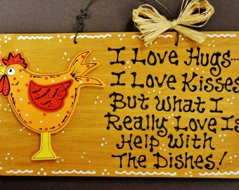 Adorable ROOSTER Hugs~Kisses~Dishes KITCHEN SIGN Chicken Plaque Country Decor