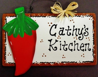 RED CHILI PEPPER Overlay Personalized Name Kitchen Sign Southwest Decor Plaque