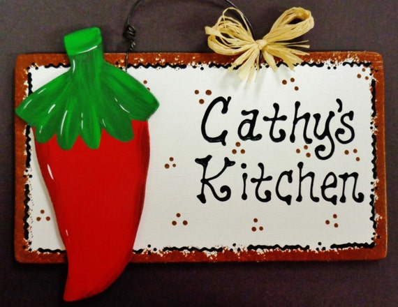 Red Chili Pepper Overlay Personalized Name Kitchen Sign