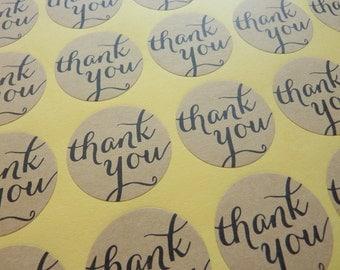 48 Brown Round Kraft Paper 'Thank you' Stickers 3cm