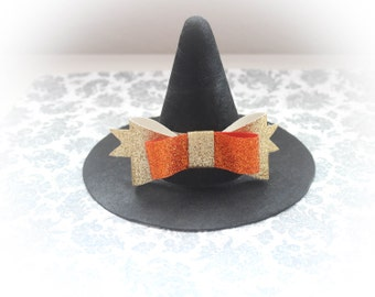 Beautiful Baby Witch Hat with Gold and Orange Bow for Baby Girl Halloween Costume 6-24 Months old First Halloween Baby Halloween