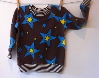 Sweatshirt with big stars, cotton jogging material, mt 84