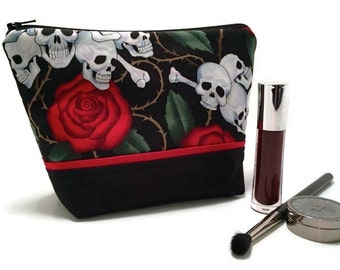 Large Makeup Bag, Skull and Roses Makeup Bag, Cosmetic Bag, Make up Storage, Travel Bag, Edgy Makeup Bag, Toiletry Bag