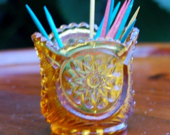 EAPG...Amber..Oneata Chimo...Toothpick Holder From Riverside Glass Works