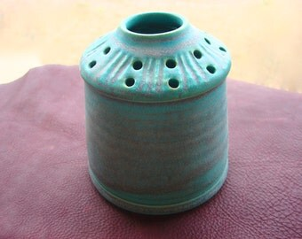 Vintage Ceramic Turquoise Flower Stem Holder