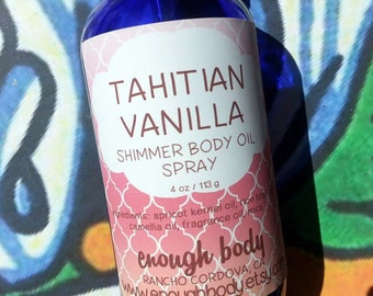 Tahitian Vanilla Shimmer Body Oil Spray ~ Dry Oil Spray ~ Moisturizing Body Oil ~ Spray Oil ~ Body Spray